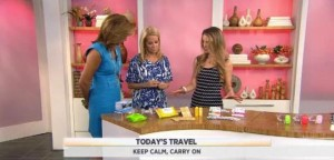 Leah Wyar shared ways to make packing easy for beauty supplies including Olay Facial Cloths, La Fresh towelettes and Sephora Makeup Palette.