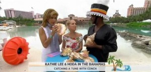 Kathie Lee and Hoda get a crash course in how to play the conch from Christian Justilien, music lecturer at the College of the Bahamas.