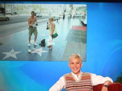 Ellen started the show talking about the new Burger King Menu, Taco Bell Mtn Dew A.M. review and Ellen gets Hollywood Walk of Fame star.