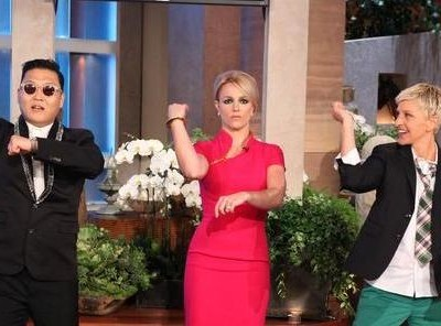 Ellen talked with Simon Cowell and Britney Spears about The X Factor, new host for X Factor and Britney learned the 'Gangnam Style' dance.