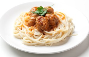 Spaghetti and Meatballs Recipe with Caesar Salad & Garlic Bread