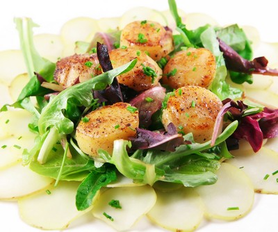 Seared Diver Scallops Recipe with Apple & Celery Root Salad