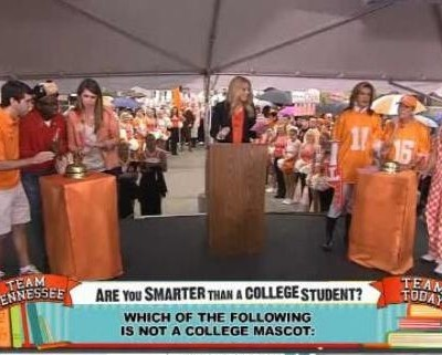"The ladies took on college students in a game called ""Are You Smarter Than A College Student?,"" featuring college mascots and oldest college in US."