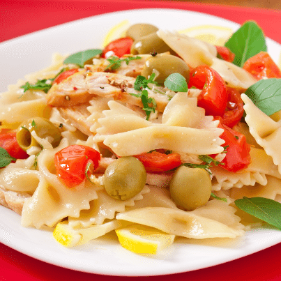 The Chew Mario Batali S Chicken Pasta Salad Recipe With Green Olives