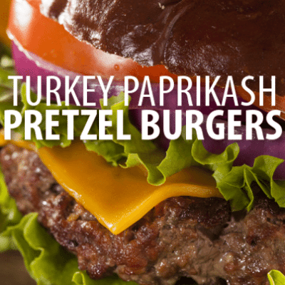 Rachael Ray: Turkey Paprikash Burgers on Pretzel Rolls Recipe