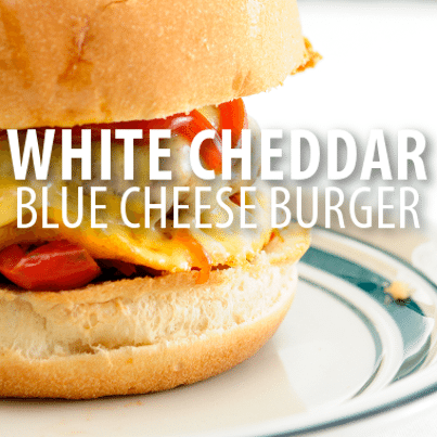 Rachael ray spicy cheddar burgers recipe with blue cheese for Blue cheese burger recipe rachael ray