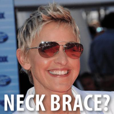 Ellen Neck Brace April Fool's Joke & Ellen Underwear Trojan Commercial