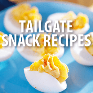Tailgate Tips, DIY Coozies + Loaded Potato Dip & Deviled Egg Recipes
