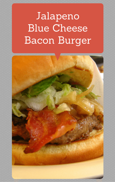 Rachael Ray: Jalapeno Blue Cheese Bacon Burger + Potato Latkes