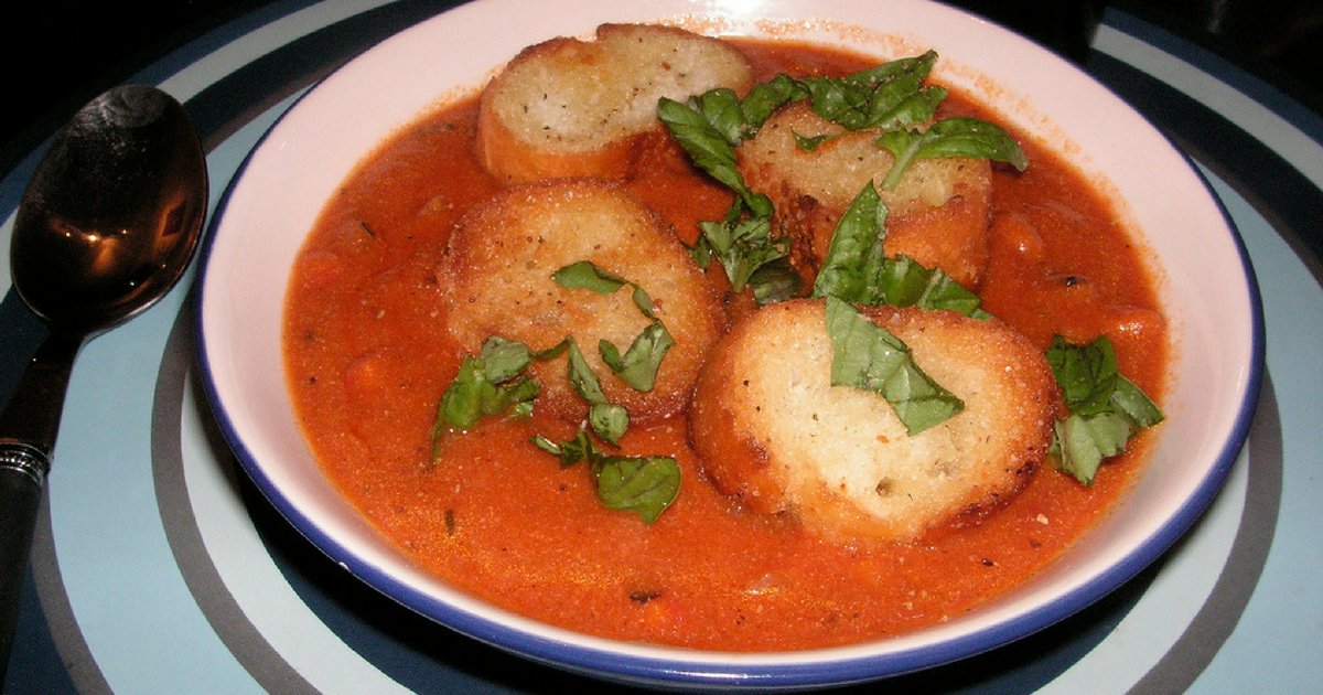 The Chew: Roasted Tomato Soup + Giant Cheesy Herb Croutons ...