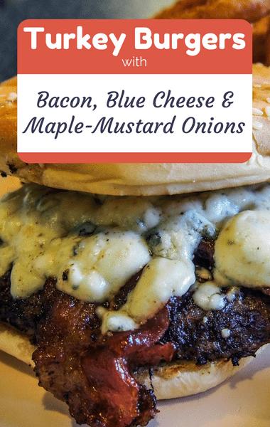Rachael Ray: Turkey Burgers + Bacon, Blue Cheese & Onions Recipe