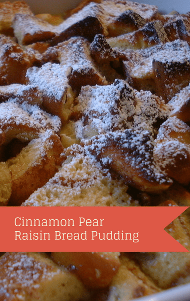 The Chew: Cinnamon Pear Raisin Bread Pudding Recipe