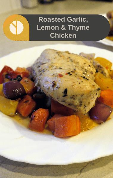Rachael Ray: Roast Garlic, Lemon & Thyme Chicken + Root Veggies