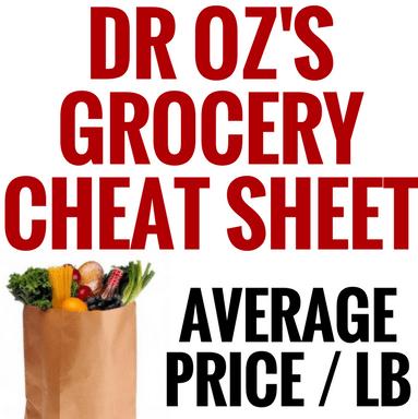Dr Oz Wallet Card Cutout & Money Saving Grocery Cheat Sheet